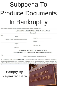 Subpoena To Produce Documents In